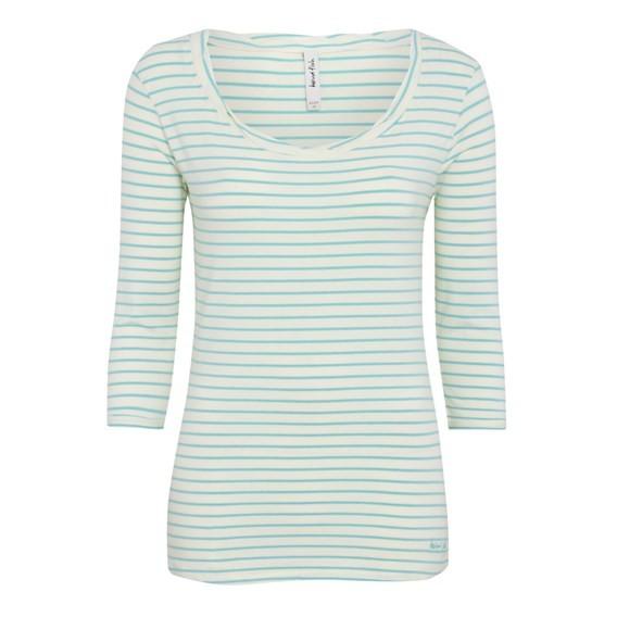 Edie Striped Long Sleeve Top Aqua Sky