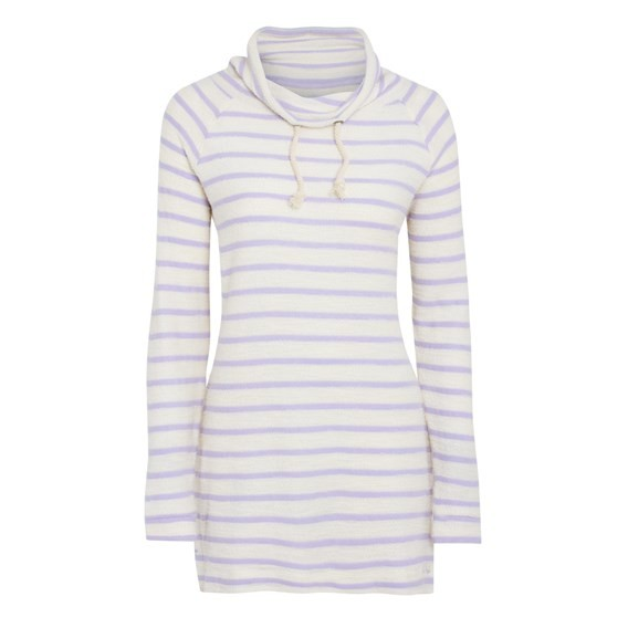 Mabel Long Length Striped Slouch Neck Top Lavender