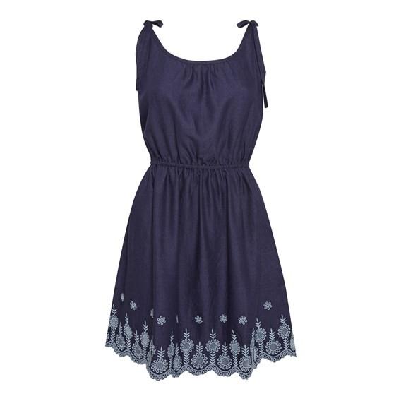 Cordoba Strappy Embroidered Dress Navy