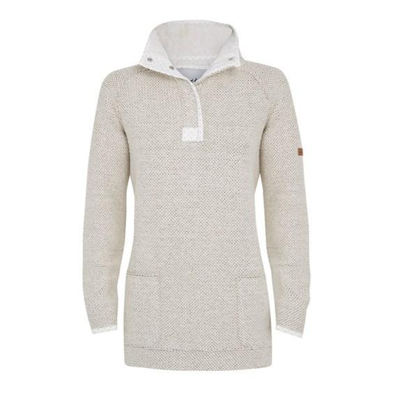 Bella Longer Length Macaroni 1/4 Button Neck Sweatshirt Ecru