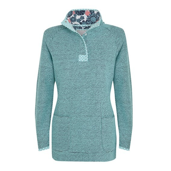 Bella Longer Length Macaroni 1/4 Button Neck Sweatshirt Aqua Sky