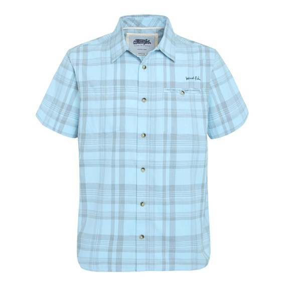 Oder Short Sleeve Twisted Yarn Shirt Cyan