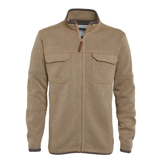Taff Full Zip Bonded Soft Knit Jacket Taupe Grey