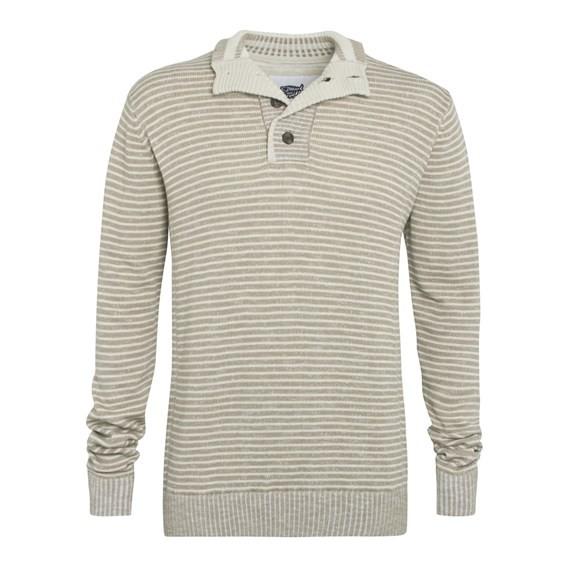 Don 1/4 Button Striped Slub Knit Jumper Taupe Grey