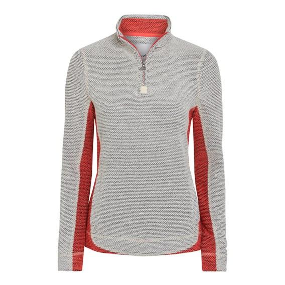 Emmie 1/4 Zip Contrast Mac Active Sweatshirt Ecru