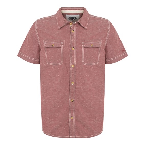 Prut Short Sleeve Chambray Shirt Loganberry
