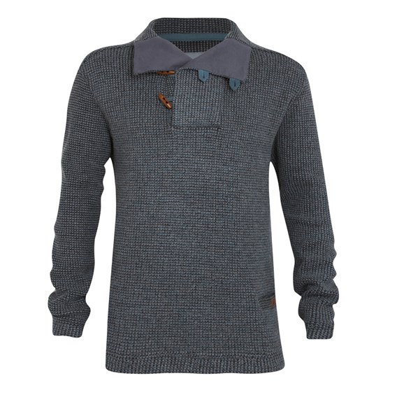 Buoy Knitted Fishermans Jumper Blue Mirage
