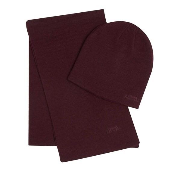 Cranning Double Layer Soft Knitted Beanie Hat & Scarf Set Conker