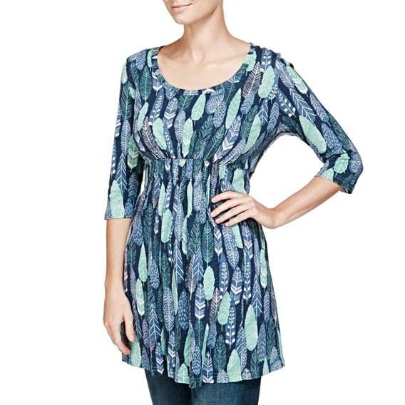 Ella 3/4 Sleeve Printed Slub Tunic Dark Navy