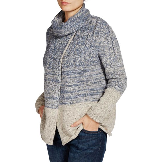 Rosbeth 2 tone Knitted Chunky Cardigan Storm