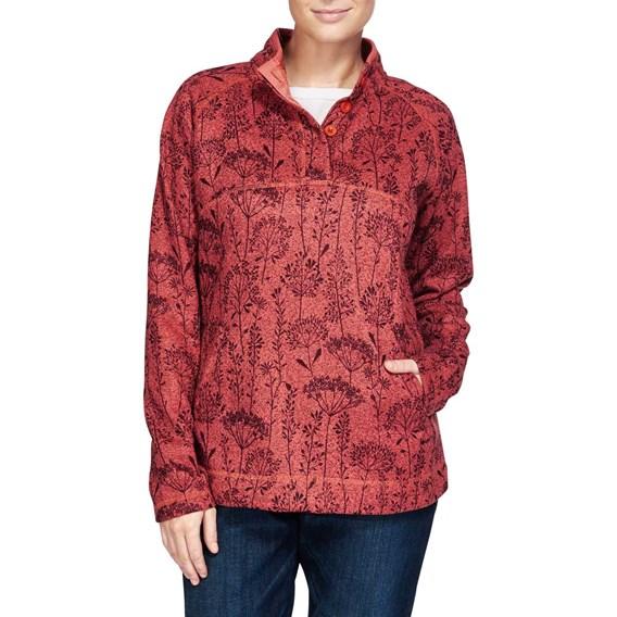Milin Floral Printed Soft Knit Fleece Sweatshirt Foxberry