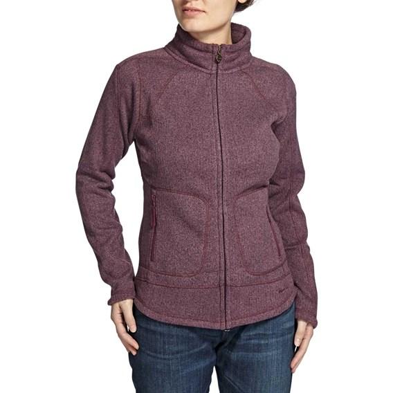 Hopa Plain Zipped Soft Knit Fleece Top Lavender