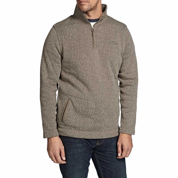 Tutor Plain 1/4 Zip Soft Knit Fleece Sweatshirt Fawn