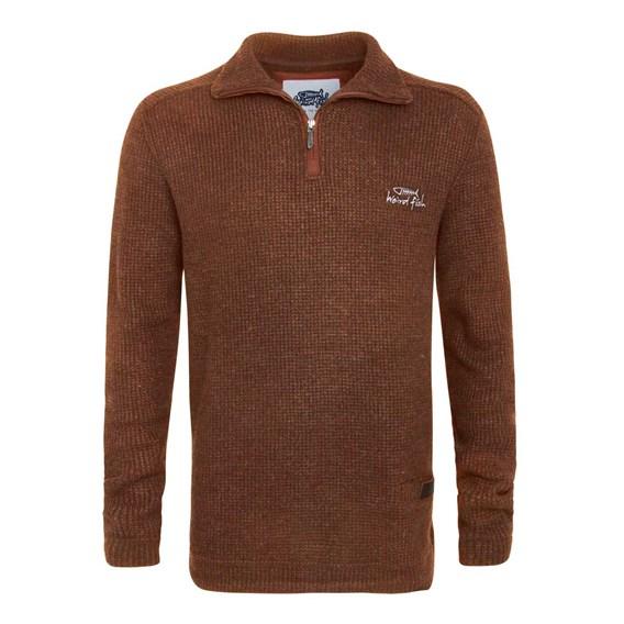 Tindal Textured 1/4 Zip Soft Knit Fleece Sweatshirt Auburn