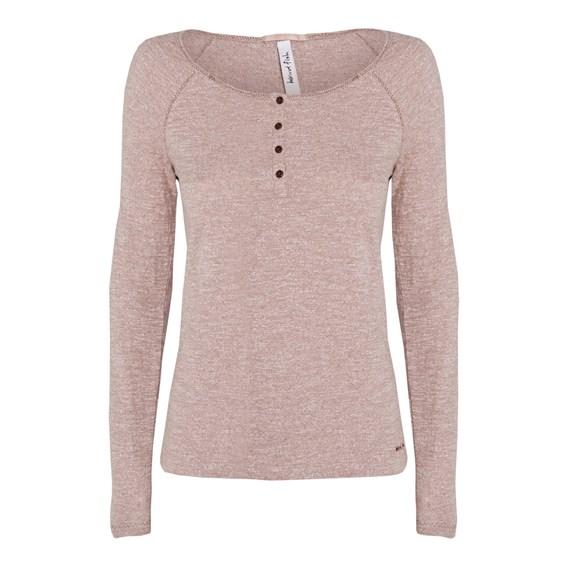 Clarence Long Sleeve Button Neck T-Shirt Mocha