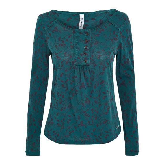 Cambray Long Sleeve Printed T-Shirt Peacock